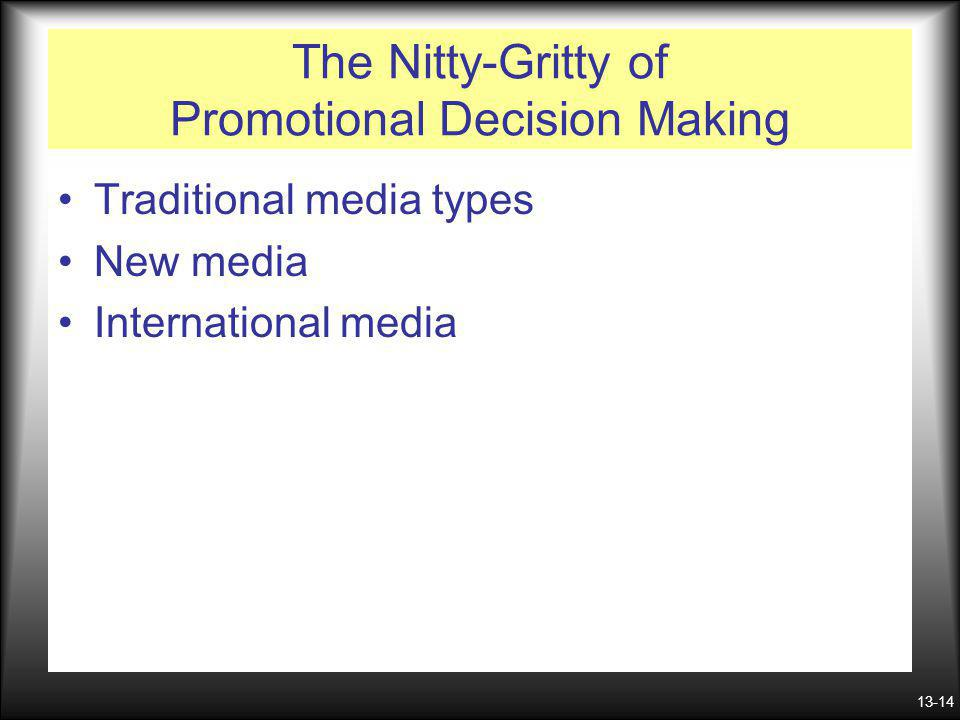 13-14 The Nitty-Gritty of Promotional Decision Making Traditional media types New media International media