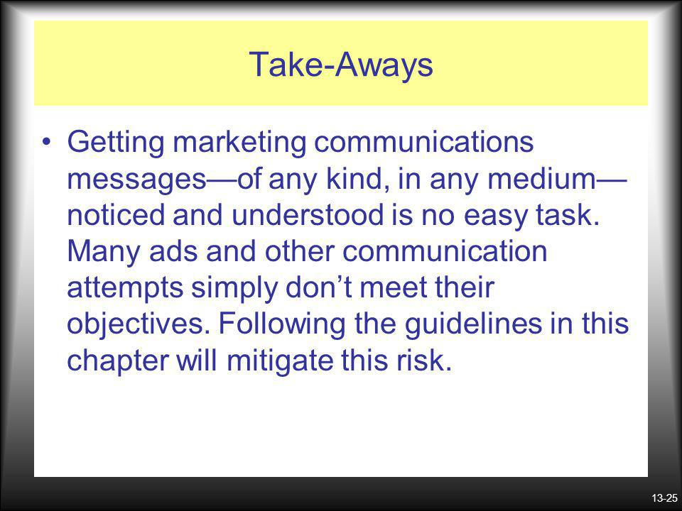 13-25 Take-Aways Getting marketing communications messagesof any kind, in any medium noticed and understood is no easy task. Many ads and other commun
