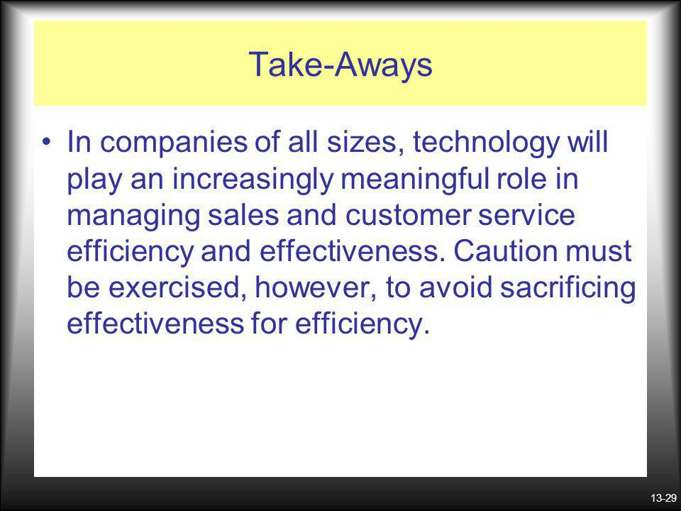 13-29 Take-Aways In companies of all sizes, technology will play an increasingly meaningful role in managing sales and customer service efficiency and