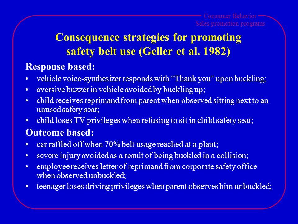 Consumer Behavior Sales promotion programs Consequence strategies for promoting safety belt use (Geller et al.