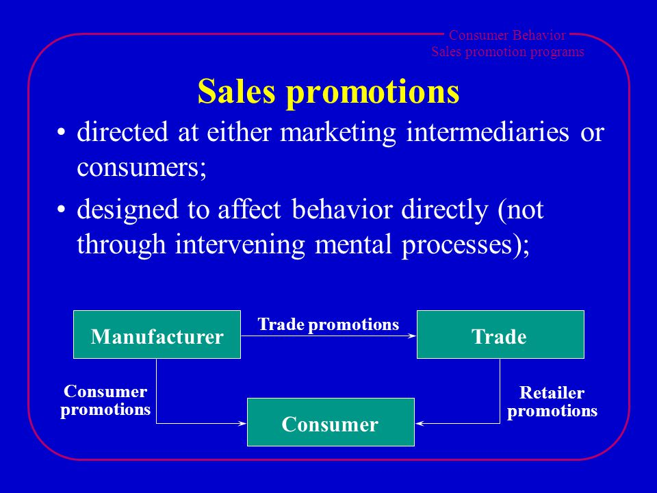 Consumer Behavior Sales promotion programs Sales promotions directed at either marketing intermediaries or consumers; designed to affect behavior dire