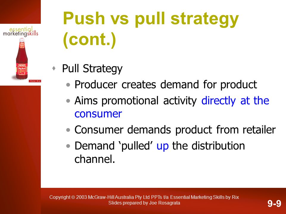 Copyright 2003 McGraw-Hill Australia Pty Ltd PPTs t/a Essential Marketing Skills by Rix Slides prepared by Joe Rosagrata Push vs pull strategy (cont.)