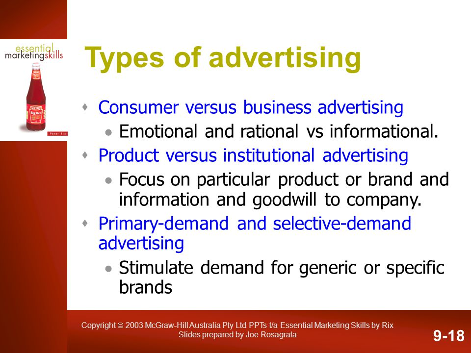 Copyright 2003 McGraw-Hill Australia Pty Ltd PPTs t/a Essential Marketing Skills by Rix Slides prepared by Joe Rosagrata Types of advertising Consumer