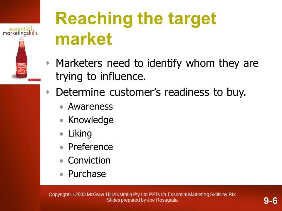 Copyright 2003 McGraw-Hill Australia Pty Ltd PPTs t/a Essential Marketing Skills by Rix Slides prepared by Joe Rosagrata Reaching the target market Ma