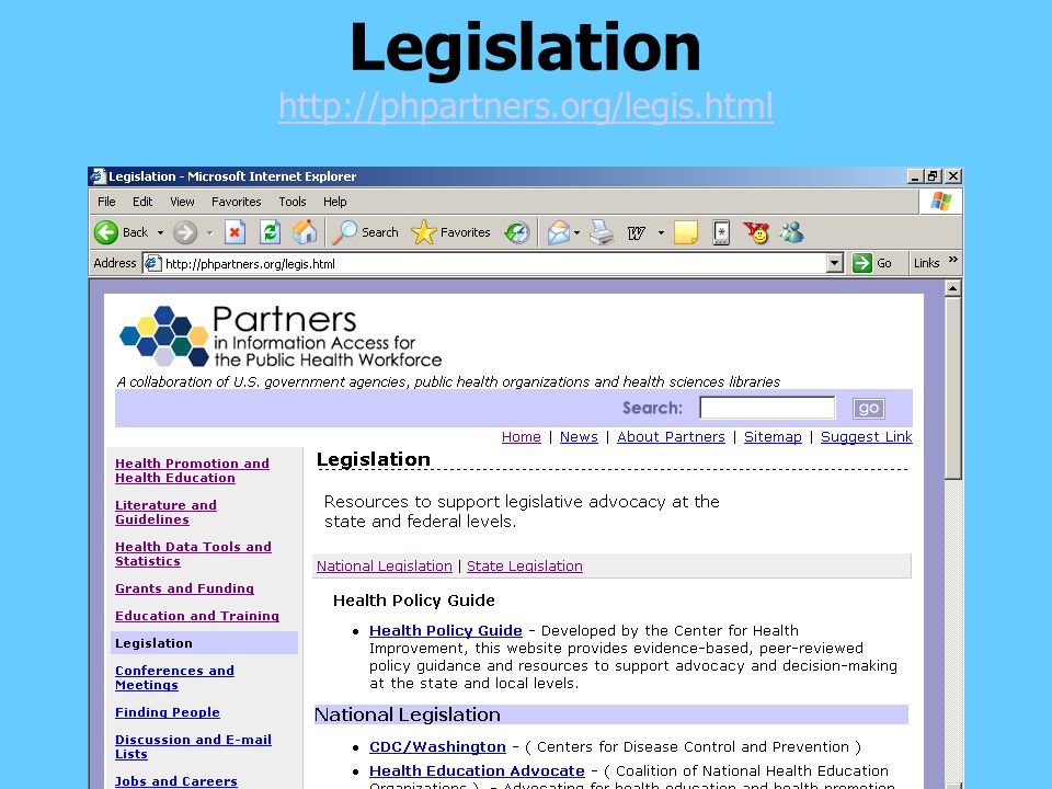 Legislation http://phpartners.org/legis.html http://phpartners.org/legis.html