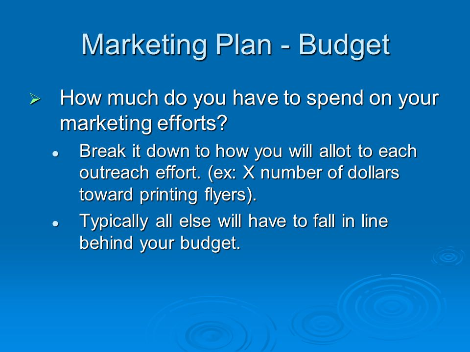Marketing Plan - Budget How much do you have to spend on your marketing efforts.