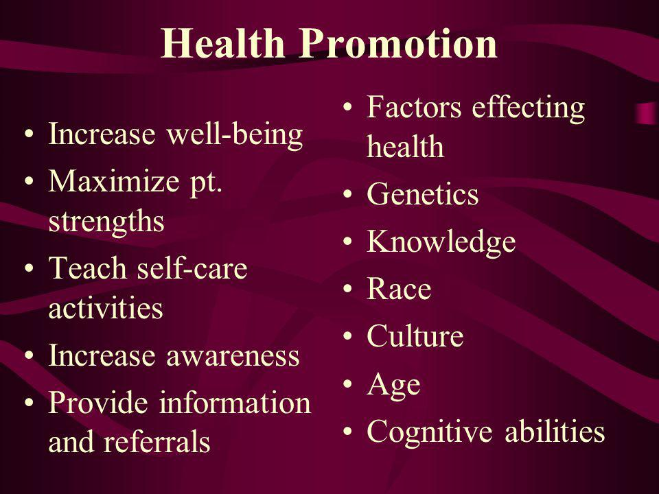 Health Promotion Increase well-being Maximize pt. strengths Teach self-care activities Increase awareness Provide information and referrals Factors ef