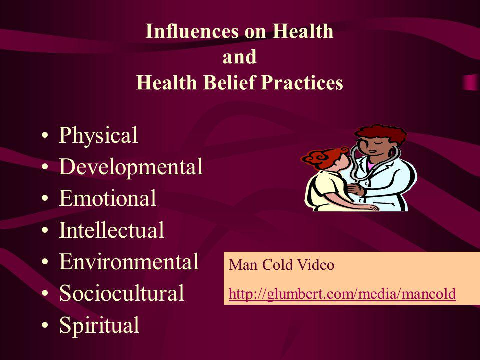 Influences on Health and Health Belief Practices Physical Developmental Emotional Intellectual Environmental Sociocultural Spiritual Man Cold Video ht