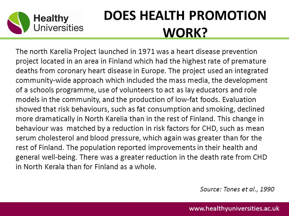 DOES HEALTH PROMOTION WORK? www.healthyuniversities.ac.uk The north Karelia Project launched in 1971 was a heart disease prevention project located in