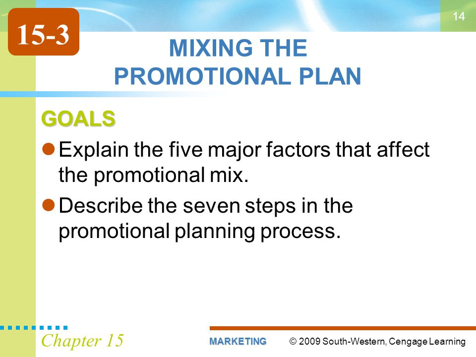 © 2009 South-Western, Cengage LearningMARKETING Chapter 15 14 MIXING THE PROMOTIONAL PLAN GOALS Explain the five major factors that affect the promoti