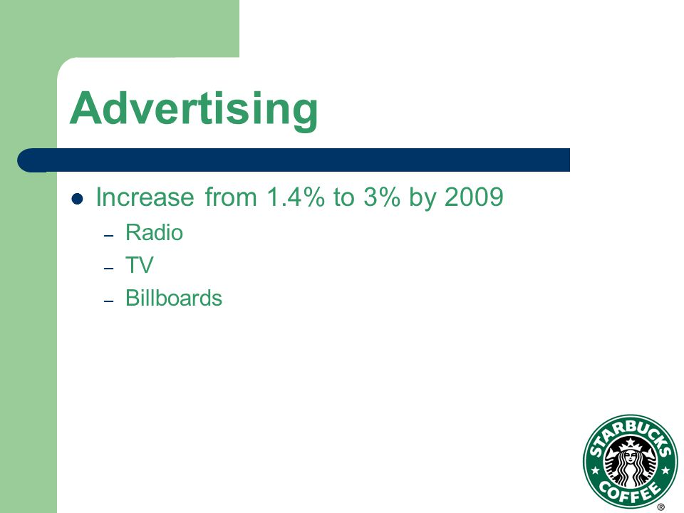 Advertising Increase from 1.4% to 3% by 2009 – Radio – TV – Billboards