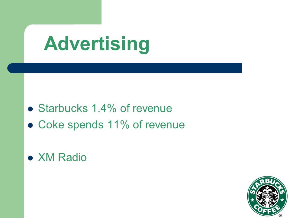 Advertising Starbucks 1.4% of revenue Coke spends 11% of revenue XM Radio