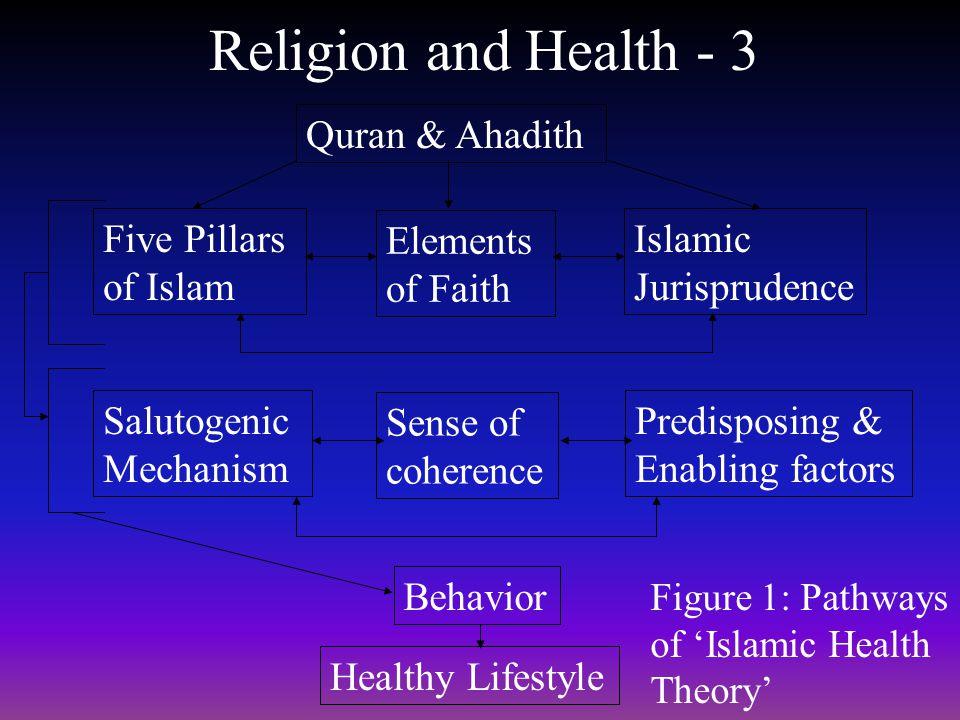 Religion and Health - 3 Figure 1: Pathways of Islamic Health Theory Quran & Ahadith Five Pillars of Islam Elements of Faith Islamic Jurisprudence Salu