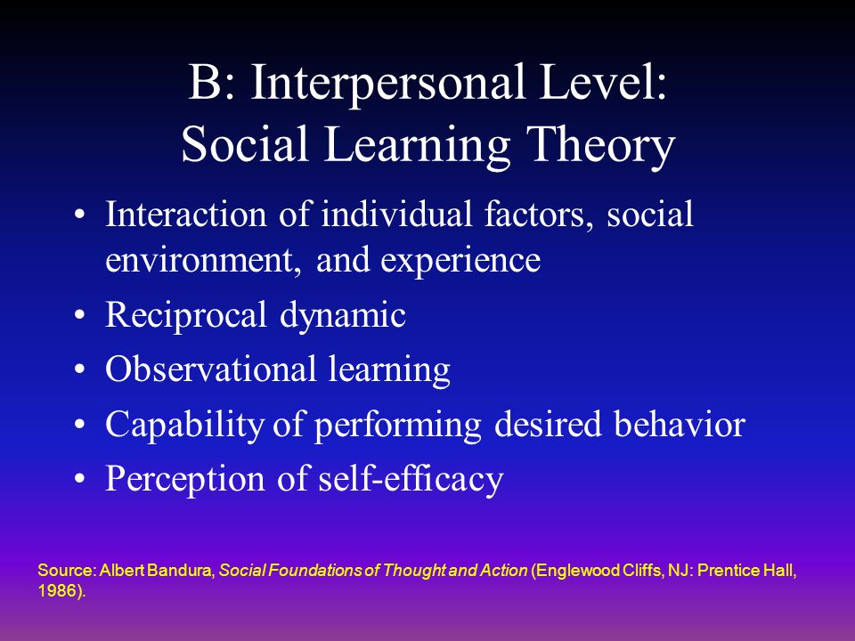 B: Interpersonal Level: Social Learning Theory Interaction of individual factors, social environment, and experience Reciprocal dynamic Observational