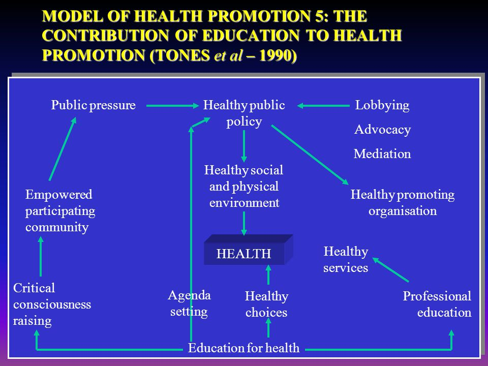 Objectives: You Students will Understand the parameters required for health promotion model.