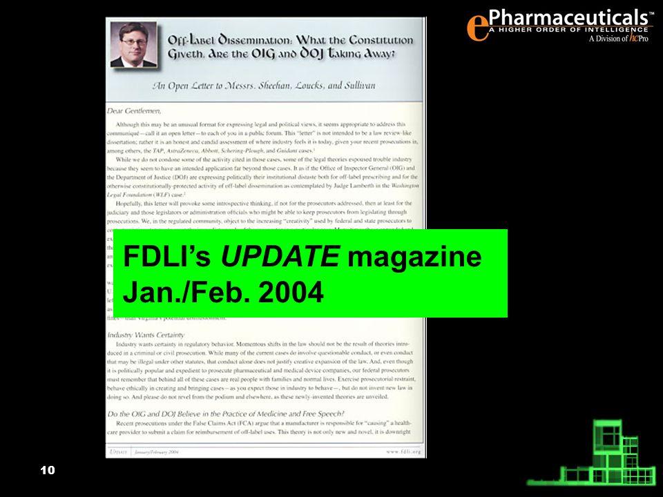 10 FDLIs UPDATE magazine Jan./Feb. 2004