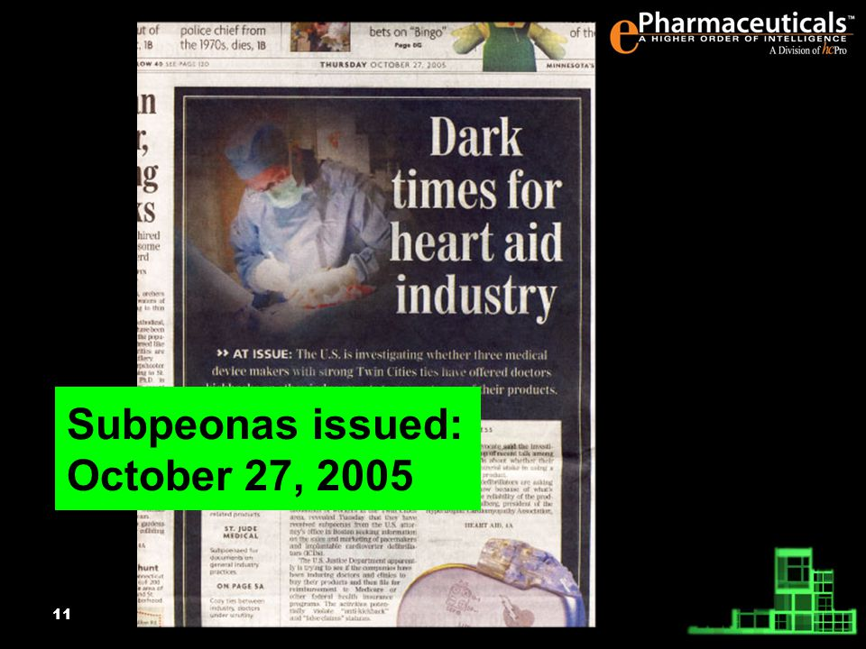 11 Subpeonas issued: October 27, 2005