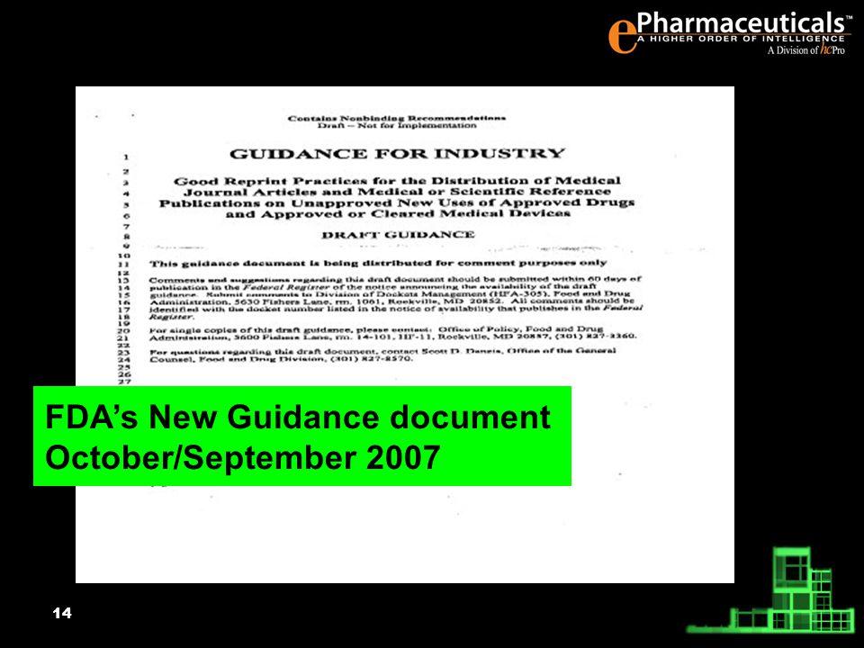 14 FDAs New Guidance document October/September 2007
