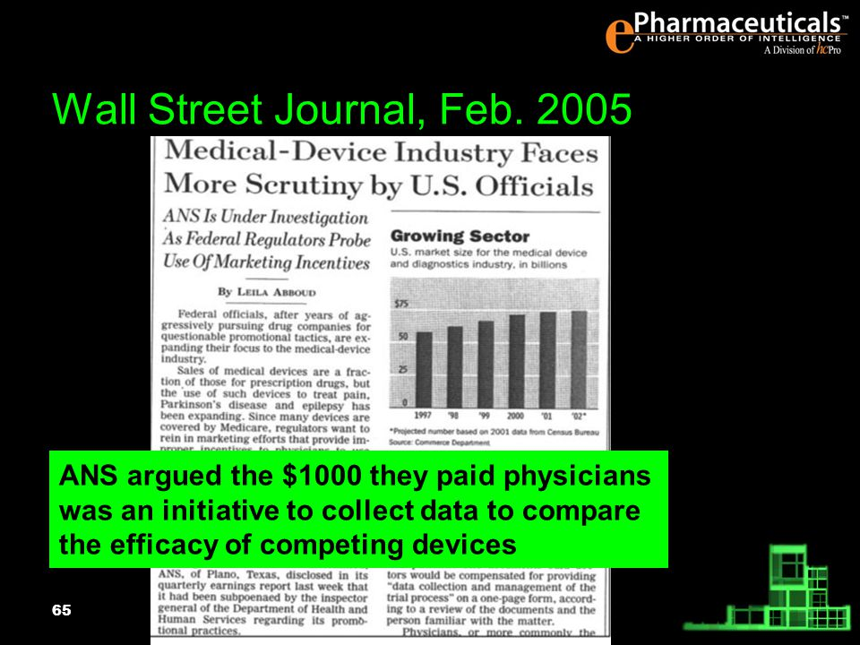 65 ANS argued the $1000 they paid physicians was an initiative to collect data to compare the efficacy of competing devices Wall Street Journal, Feb.