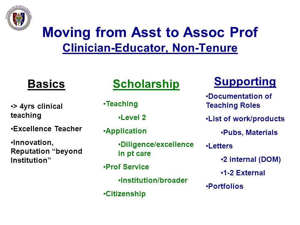 Moving from Asst to Assoc Prof Clinician-Educator, Non-Tenure Basics > 4yrs clinical teaching Excellence Teacher Innovation, Reputation beyond Institu