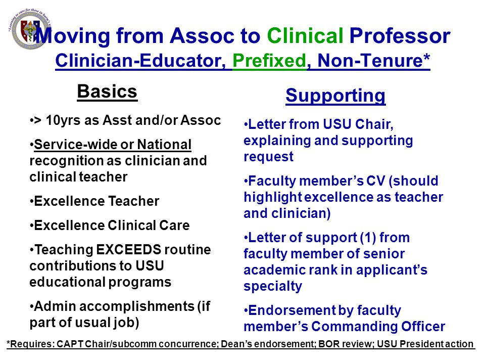 Moving from Assoc to Clinical Professor Clinician-Educator, Prefixed, Non-Tenure* Basics > 10yrs as Asst and/or Assoc Service-wide or National recogni