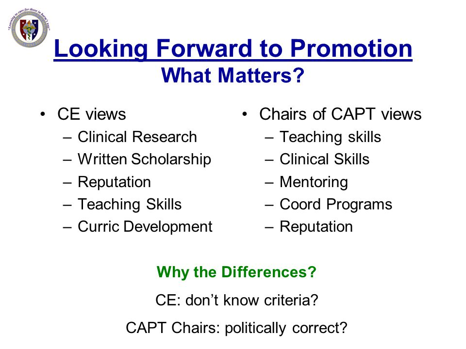 Looking Forward to Promotion What Matters? CE views –Clinical Research –Written Scholarship –Reputation –Teaching Skills –Curric Development Chairs of