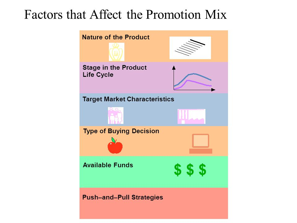Factors that Affect the Promotion Mix Push–and–Pull Strategies Nature of the Product Stage in the Product Life Cycle Target Market Characteristics Typ