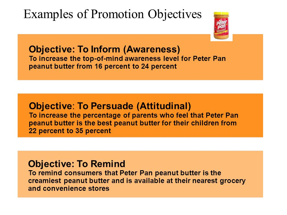 Examples of Promotion Objectives Objective: To Remind To remind consumers that Peter Pan peanut butter is the creamiest peanut butter and is available