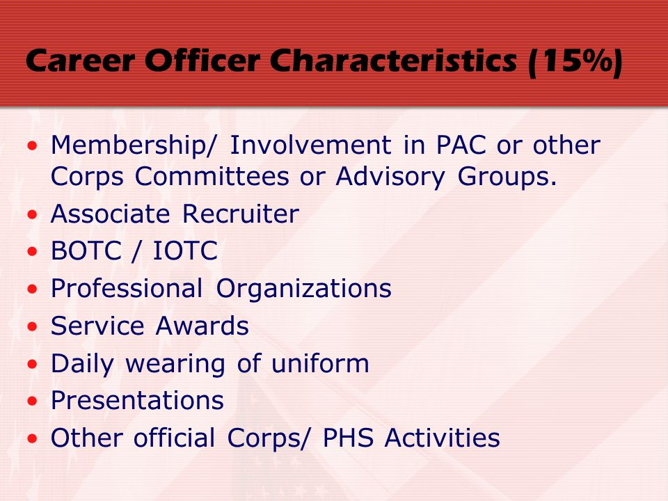 Career Officer Characteristics (15%) Membership/ Involvement in PAC or other Corps Committees or Advisory Groups. Associate Recruiter BOTC / IOTC Prof