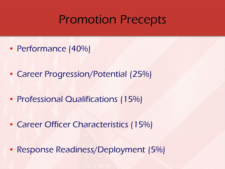 Promotion Precepts Performance (40%) Career Progression/Potential (25%) Professional Qualifications (15%) Career Officer Characteristics (15%) Respons
