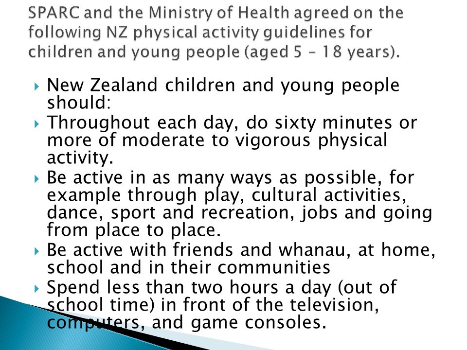New Zealand children and young people should: Throughout each day, do sixty minutes or more of moderate to vigorous physical activity.