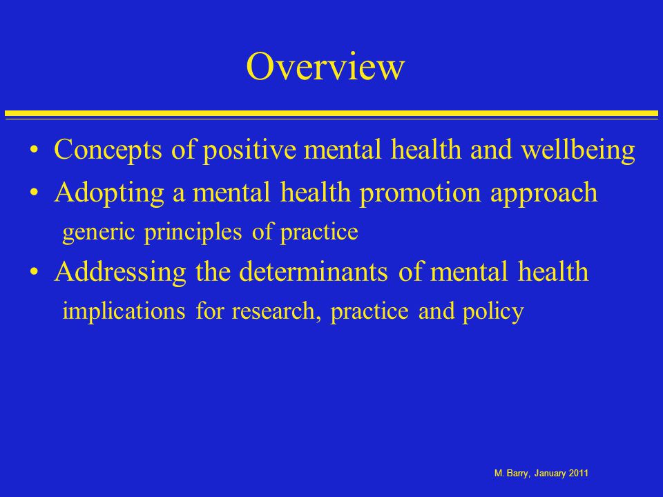 Findings from SLÁN 2007 study (Barry et al., 2009) Mental health and social wellbeing of 10, 364 Irish adults Positive and negative mental heath as part of the national health survey Lower levels of loneliness and higher levels of social support are associated with positive mental health Gender and social and economic factors Markers of social advantage - higher income, employed, higher education - associated with better mental health