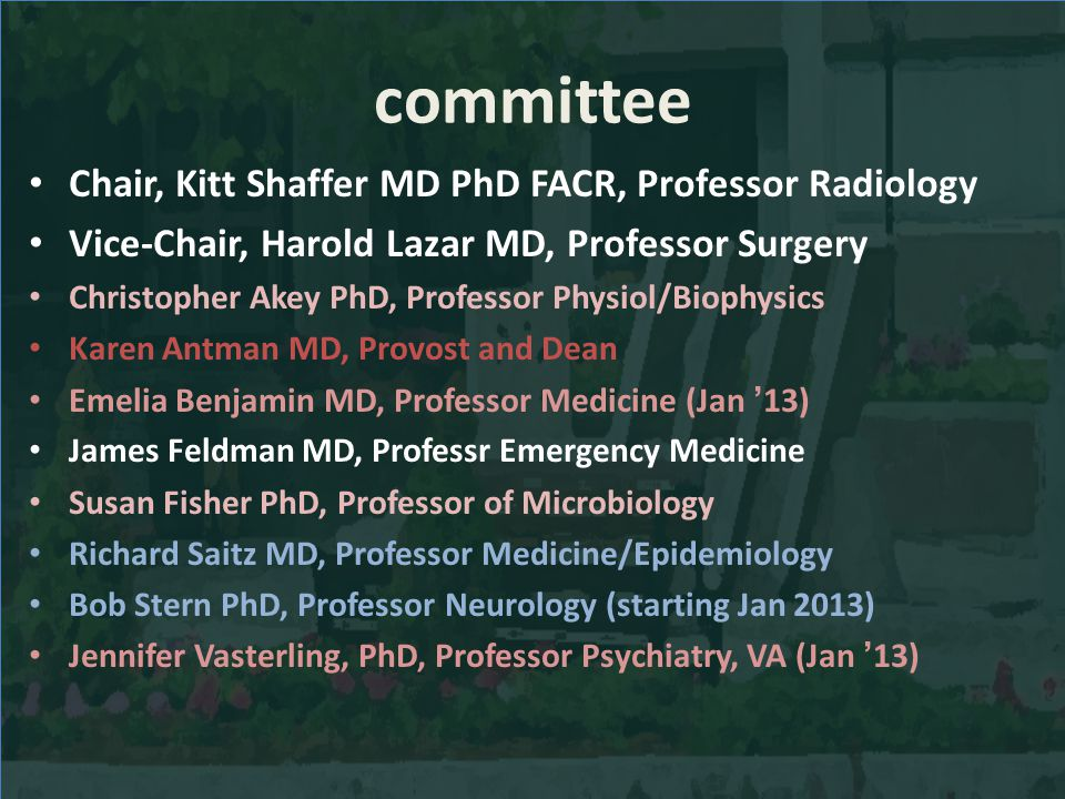 committee Chair, Kitt Shaffer MD PhD FACR, Professor Radiology Vice-Chair, Harold Lazar MD, Professor Surgery Christopher Akey PhD, Professor Physiol/Biophysics Karen Antman MD, Provost and Dean Emelia Benjamin MD, Professor Medicine (Jan 13) James Feldman MD, Professr Emergency Medicine Susan Fisher PhD, Professor of Microbiology Richard Saitz MD, Professor Medicine/Epidemiology Bob Stern PhD, Professor Neurology (starting Jan 2013) Jennifer Vasterling, PhD, Professor Psychiatry, VA (Jan 13)