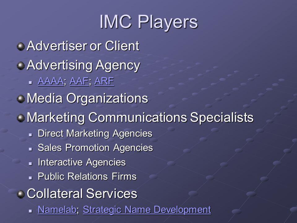 IMC Players Advertiser or Client Advertising Agency AAAA; AAF; ARF AAAA; AAF; ARF AAAAAAFARF AAAAAAFARF Media Organizations Marketing Communications S