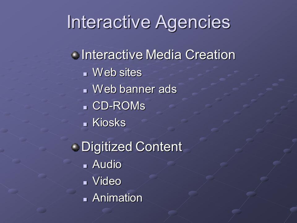 Interactive Agencies Interactive Media Creation Web sites Web sites Web banner ads Web banner ads CD-ROMs CD-ROMs Kiosks Kiosks Digitized Content Audi