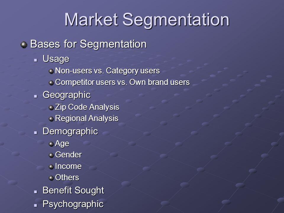 Market Segmentation Bases for Segmentation Usage Usage Non-users vs. Category users Competitor users vs. Own brand users Geographic Geographic Zip Cod
