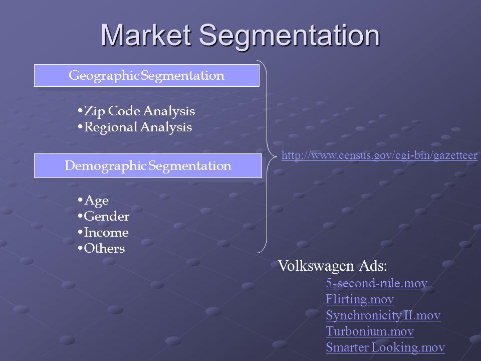 Market Segmentation Geographic Segmentation Zip Code Analysis Regional Analysis Demographic Segmentation Age Gender Income Others Volkswagen Ads: 5-se