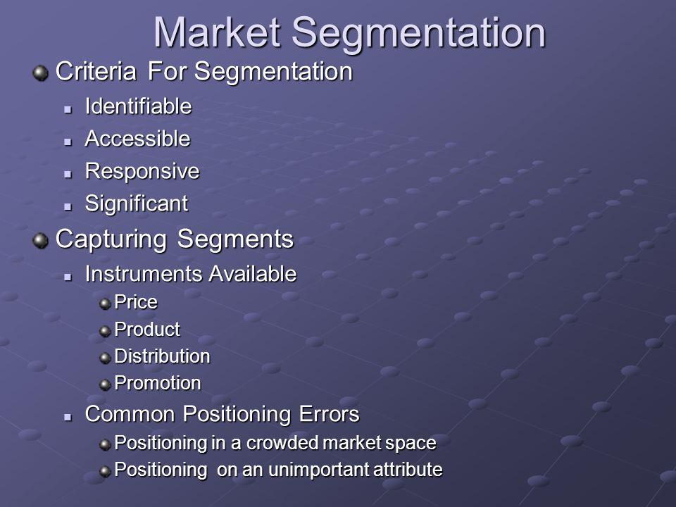 Market Segmentation Criteria For Segmentation Identifiable Identifiable Accessible Accessible Responsive Responsive Significant Significant Capturing