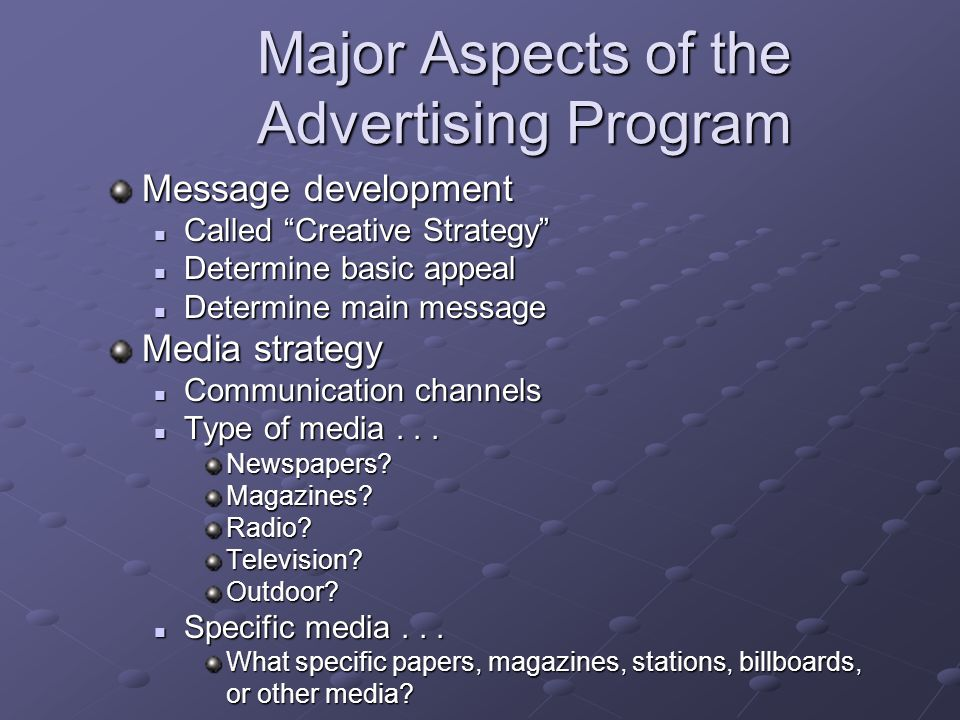 Major Aspects of the Advertising Program Message development Called Creative Strategy Called Creative Strategy Determine basic appeal Determine basic