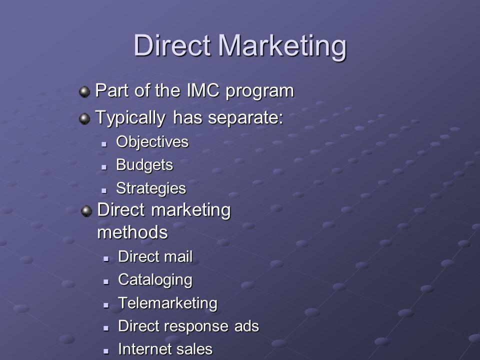 Direct Marketing Direct marketing methods Direct mail Direct mail Cataloging Cataloging Telemarketing Telemarketing Direct response ads Direct respons
