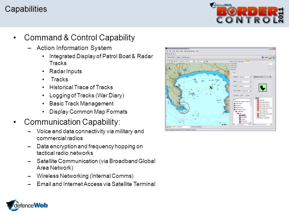 Capabilities Command & Control Capability –Action Information System Integrated Display of Patrol Boat & Radar Tracks Radar Inputs Tracks Historical T