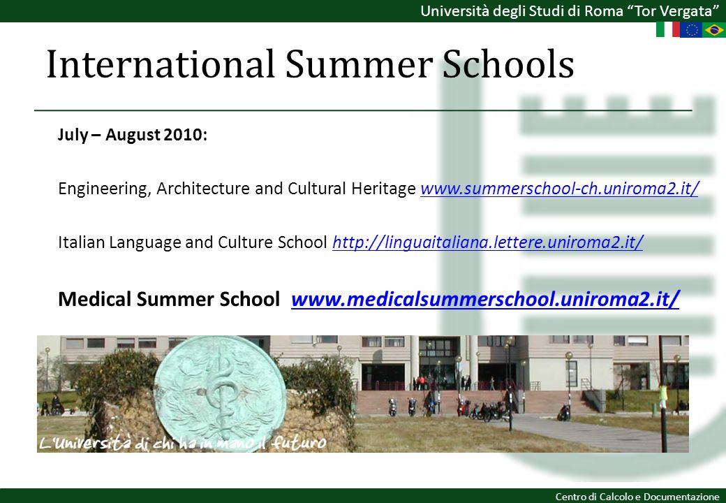 Università degli Studi di Roma Tor Vergata Centro di Calcolo e Documentazione International Summer Schools July – August 2010: Engineering, Architectu