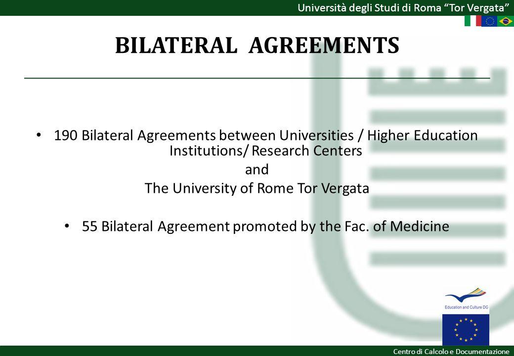Università degli Studi di Roma Tor Vergata Centro di Calcolo e Documentazione BILATERAL AGREEMENTS 190 Bilateral Agreements between Universities / Hig
