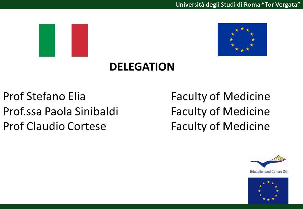 Università degli Studi di Roma Tor Vergata DELEGATION Prof Stefano Elia Faculty of Medicine Prof.ssa Paola Sinibaldi Faculty of Medicine Prof Claudio