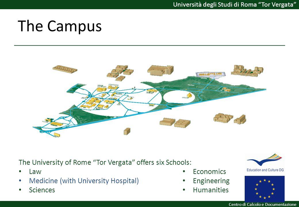The Campus The University of Rome Tor Vergata offers six Schools: Law Medicine (with University Hospital) Sciences Economics Engineering Humanities Un