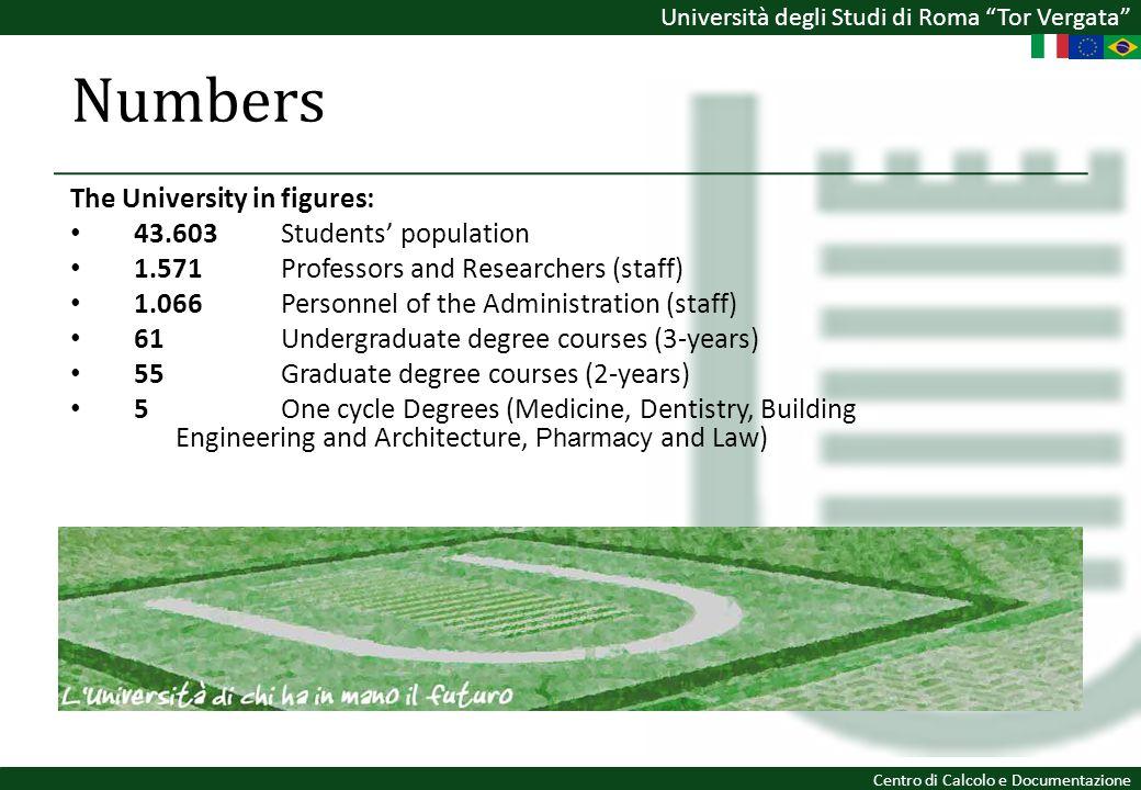 Università degli Studi di Roma Tor Vergata Centro di Calcolo e Documentazione The University in figures: 43.603Students population 1.571 Professors an