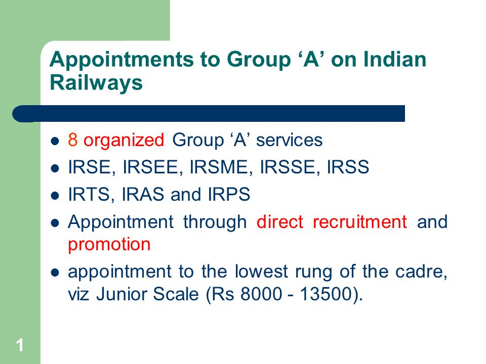 2 Appointments to Group A on Indian Railways Miscellaneous Group A cadres Law, Hindi, Public Relations, Prtg & Stnry, CMT, Cash & Pay, EDP etc.
