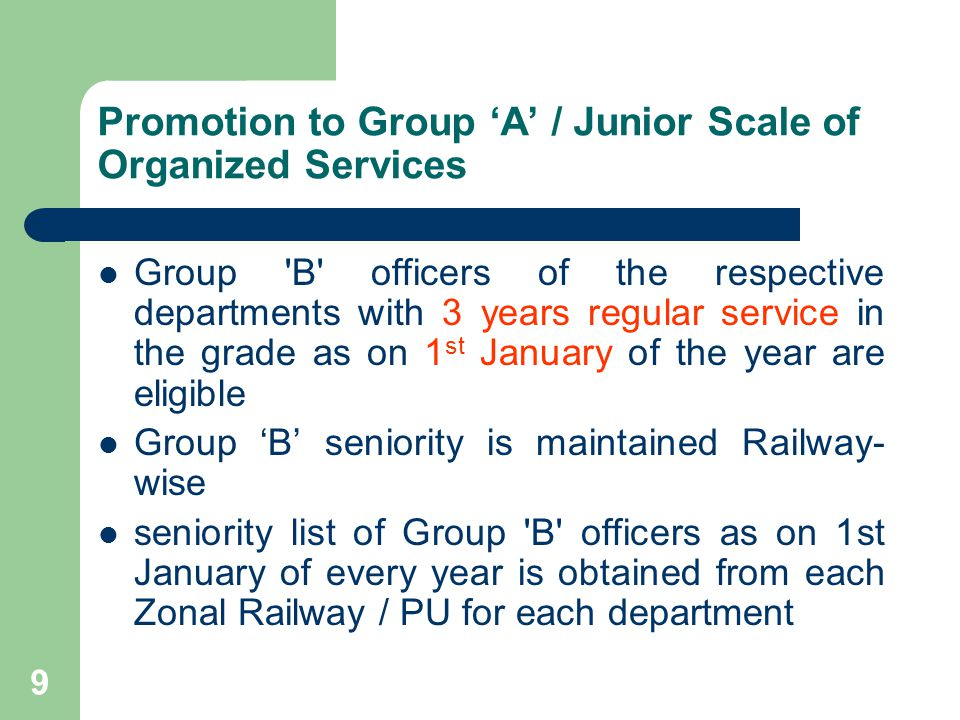 10 Distribution of vacancies among zonal Railways Group A panels are also made railway- wise The promotion quota vacancies in Jr.