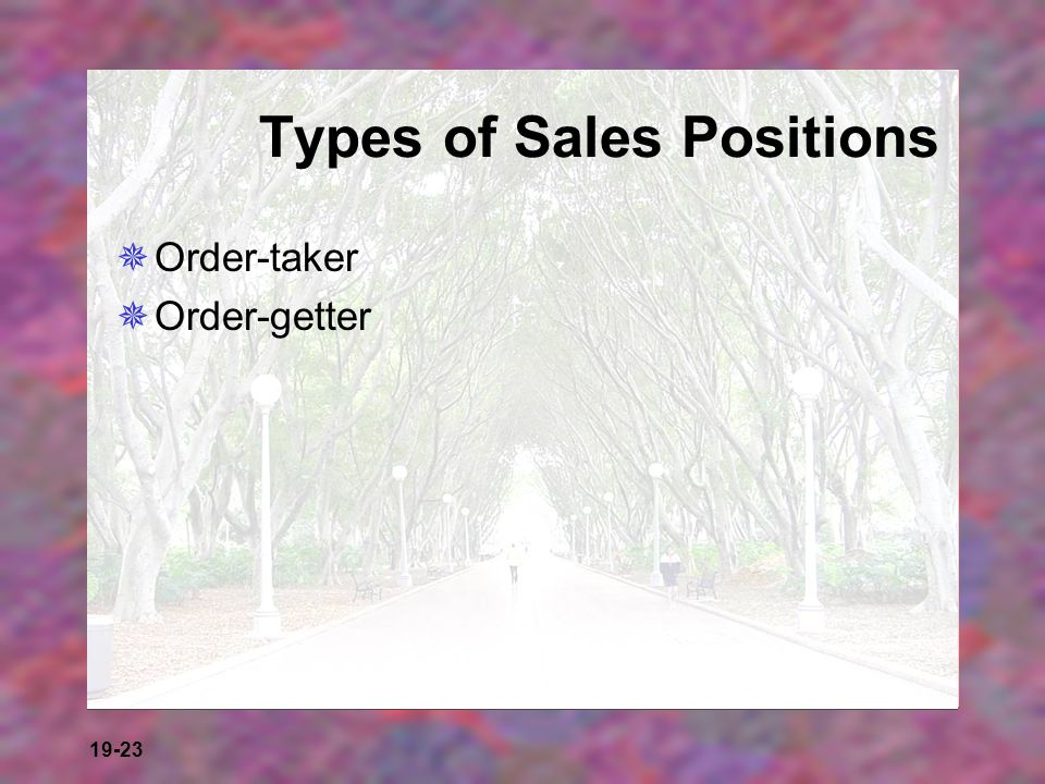 19-23 Types of Sales Positions Order-taker Order-getter