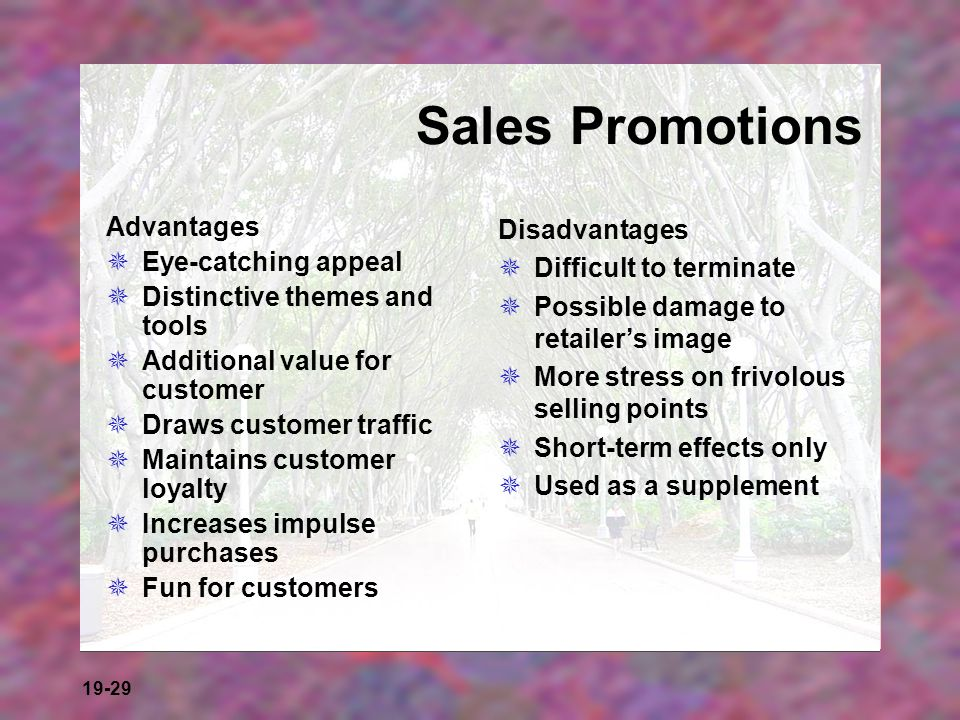19-29 Sales Promotions Advantages Eye-catching appeal Distinctive themes and tools Additional value for customer Draws customer traffic Maintains cust